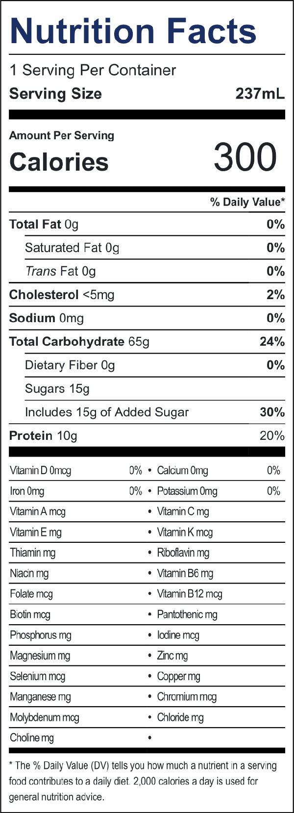 image:nutrition information